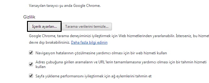 chrome-icerik-ayarlari